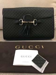 Gucci - Emily Guccissima Shoulder Chain Bag (Black)