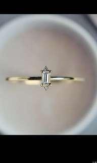 9k金極幼簡約寶石戒指