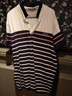 XL strip shirt white black pink
