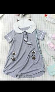 日系貓耳爪子口袋洋裝