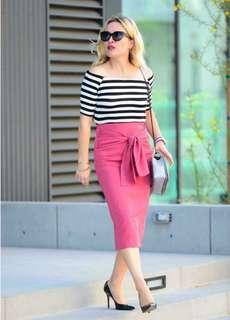 Stripes Off Shoulder top Pink Skirt terno