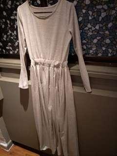 M Grey Long Sleeve Dress