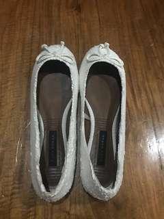 Zara White Snakeskin Ballet Flats