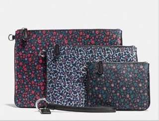 (Set) Coach Pouch Trio Floral printed (Canvas)