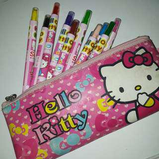 Hello Kitty Crayons Set with Pencil Case