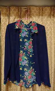 全新深藍印花雪紡襯衫