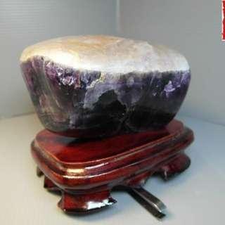 🚚 天地 藝品 專櫃 精品 天然 完美 優質 翡冷翠 ( 紫 螢石 ) 原礦 擺件 淨重 1.47 公斤 H147 含座 割愛 !