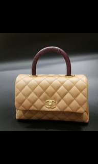 Chanel coco mini handle caramel. Lizard
