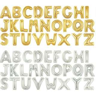 INSTOCK: 16 inch Letter Balloons Gold / Silver