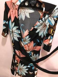 wrap midi dress (Flower)
