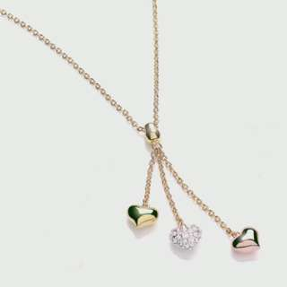 Buckley London. Tri Colour Delicate Drop Heart Necklace英國品牌心型吊墜項鍊