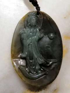 Antique Old Jade Guan Yin Pendant