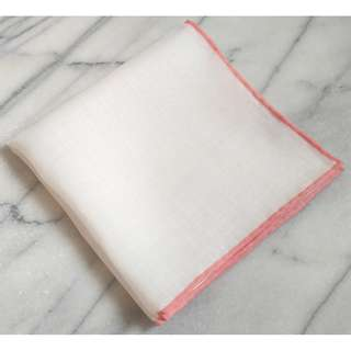 🚚 Hand Rolled Solid White Linen Pocket Square with Blush Pink Border/Edge