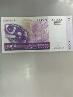 Madagascar 1000 ariary 5000 francs 2004 issue