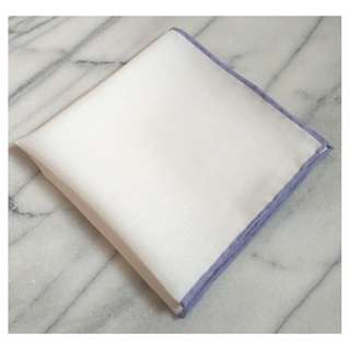 🚚 Hand Rolled Solid White Linen Pocket Square with Light Purple/Wisteria Border/Edge