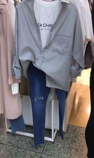Thigh slit skinny jeans