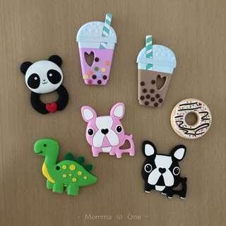 Silicone Teether - Dino, Donut, frenchies, bubble milk tea, Panda