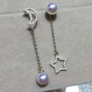 18K金AKOYA海水珍珠耳環(黃金/白金)