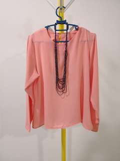 Free size peach nude toned blouse flowy