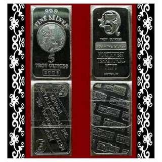♦ Select [✔] USA. NMI or NWTM - Classic Vintage. 1x 5 Troy Oz. 999 Fine Silver bar