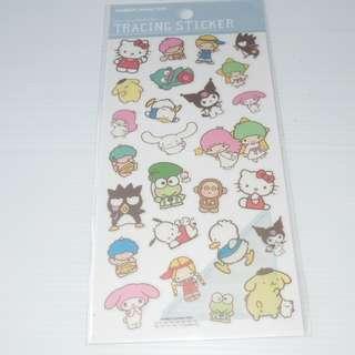 Sanrio Characters Goropikadon Keroppi Kuromi Little Twin Stars Tracing Sticker 牛油紙質地貼紙