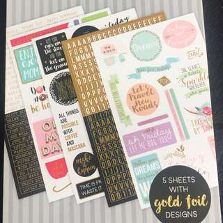 Gold Foiled Scrapbooks Sticker Pack