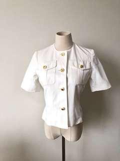 💯真品 原價9千 很新 Auth Celine jacket 高級優雅經典金扣短袖外套