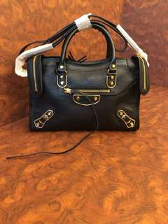 Balenciaga metallic edge black small classic handbag