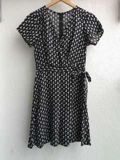 Cotton On black pattern mock wrap dress