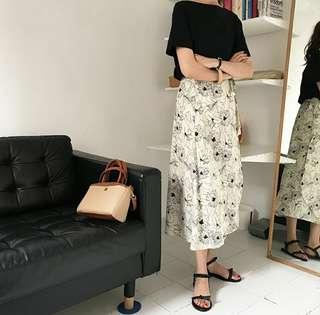 韓國高腰質感復古花朵綁帶裙
