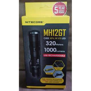 NITECORE MH12GT 1000 LUMENS USB RECHARGEABLE LED TORCHLIGHT, 3400 mAh RECHARGEABLE BATTERY INCLUDED