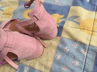 Pink Velvet Ankle Strap by Rubi