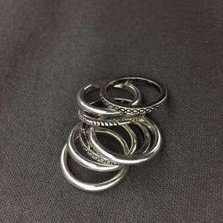 銀色波希米亞刻紋戒指 7個一組
