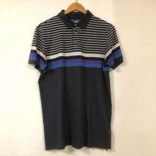 🚚 DKNY 美式POLO衫 休閒短袖 橫條紋 紫 黑 6月