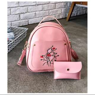 Korean 2 in 1 style Small Backpack with Wallet
