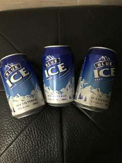Blue ice beer x 3 cans