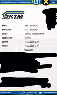 ETS Ticket - Gold - KL Sentral to Taiping (Single way) for Sale