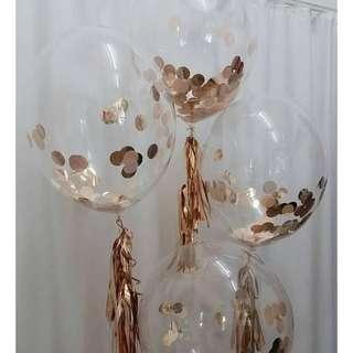 "12"" rose gold confetti balloon"