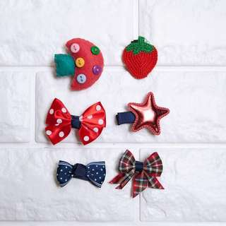 🚚 Instock - 6pc Red Hair Pins, baby infant toddler kid