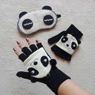 🐼 Panda Bundle Alert! Hand Warmer / Mittens with Free Sleeping Mask