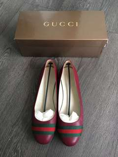 AUTHENTIC Gucci Ballet Flats Dark Ruby Size 39