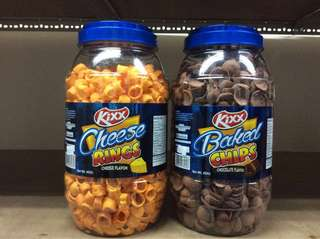Kixx baked chips (chocolate) and kixx cheese rings