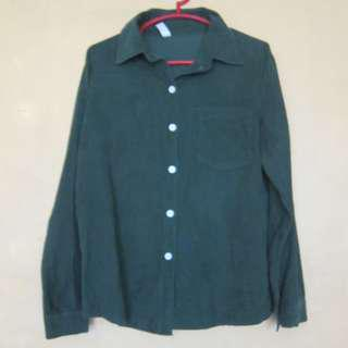 Green Corduroy Long Sleeves Polo