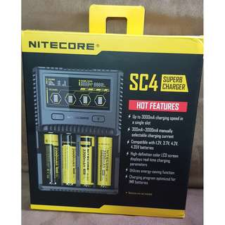 FOC DELIVERY,NITECORE SC4 SUPERB BATTERY CHARGER, LI-ION, NI-MH, NI-CD. FREE OF CHARGE MAILING