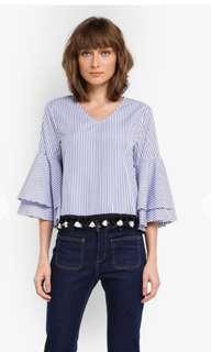 Tasseled Stripe Cotton Poplin Top  Dressing Paula