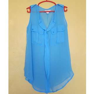 Cotton On Blue Sheer Blouse