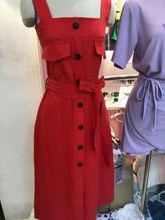 💮正韓棉麻排釦蓋袋洋裝