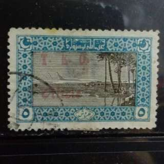 [lapyip1230] 噩圖曼土耳其帝國 1919年 金字塔 伍圓 加蓋票 舊票 VFU