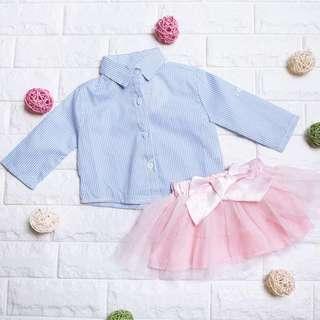 🚚 Instock - 2pc Blue Stripe Tutu Set, baby infant toddler kid
