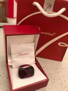 Baccarat Ladies Crystal Ruby Rock Ring - Size 51